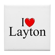"""I Love Layton"" Tile Coaster"