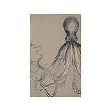 Vintage Octopus in Mocha duotone 3'x5' Area Rug