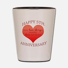 5th. Anniversary Shot Glass