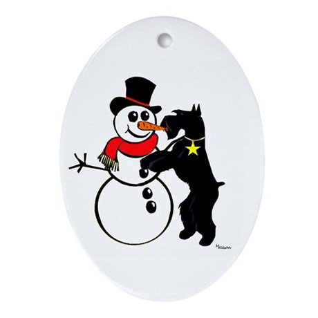 Oval Ornament takes carrot from snowman