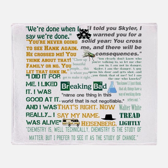 Walter White Quotes Throw Blanket
