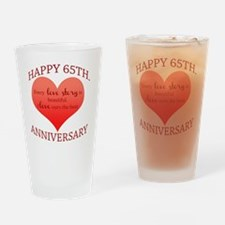 65th. Anniversary Drinking Glass