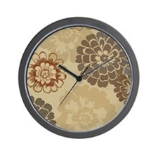 Art Deco Abstract Floral Sienna Wall Clock