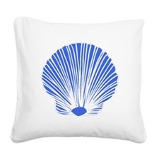 Blue Sea Shell Square Canvas Pillow