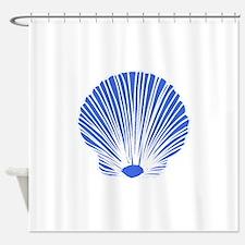 Blue Sea Shell Shower Curtain