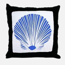 Blue Sea Shell Throw Pillow