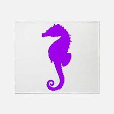 Purple Seahorse Throw Blanket