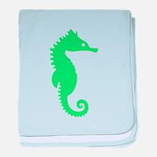 Green Seahorse baby blanket