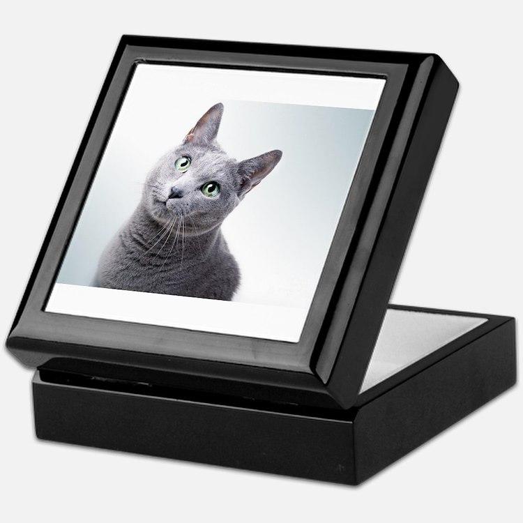 russian blue cat Keepsake Box