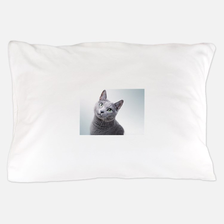 russian blue cat Pillow Case