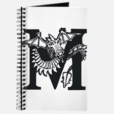 Black and White Dragon Letter M Journal