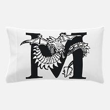 Black and White Dragon Letter M Pillow Case