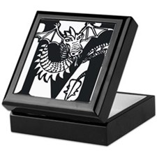 Black and White Dragon Letter M Keepsake Box