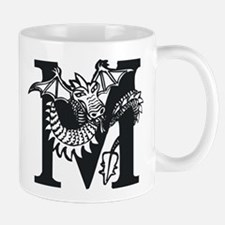 Black and White Dragon Letter M Mugs