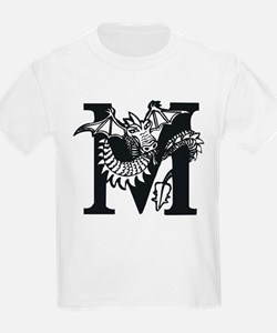 Black and White Dragon Letter M T-Shirt
