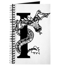 Black and White Dragon Letter I Journal