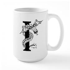 Black and White Dragon Letter I Mugs