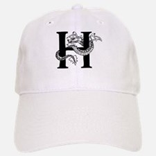 Black and White Dragon Letter H Baseball Baseball Baseball Cap