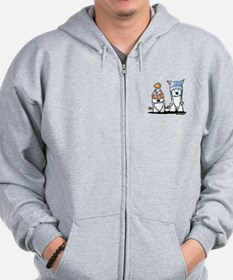 KiniArt Winter Westies Zip Hoodie