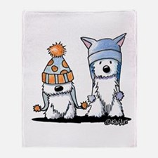 KiniArt Winter Westies Throw Blanket