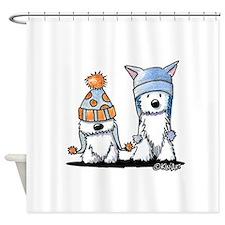 KiniArt Winter Westies Shower Curtain