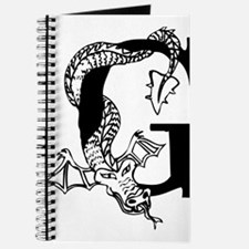 Black and White Dragon Letter G Journal