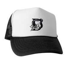 Black and White Dragon Letter D Trucker Hat