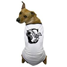 Black and White Dragon Letter C Dog T-Shirt