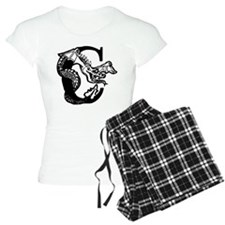 Black and White Dragon Letter C Pajamas