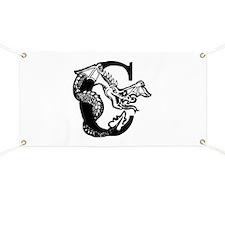 Black and White Dragon Letter C Banner
