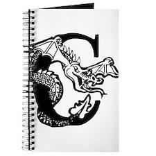 Black and White Dragon Letter C Journal