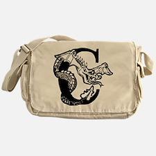Black and White Dragon Letter C Messenger Bag
