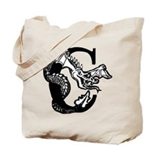 Black and White Dragon Letter C Tote Bag