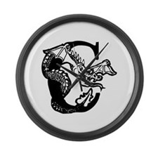 Black and White Dragon Letter C Large Wall Clock