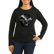 Black and White Dragon Letter C Long Sleeve T-Shir