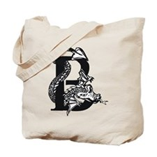 Black and White Dragon Letter B Tote Bag
