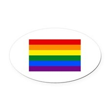 Gay Pride Flag Oval Car Magnet