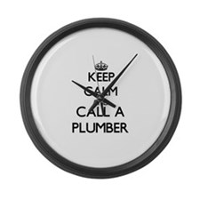 Keep calm and call a Plumber Large Wall Clock