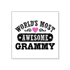 "World's Most Awesome Grammy Square Sticker 3"" x 3"""