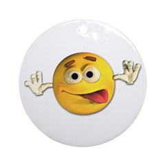 Goofy Emoticon Smiley Ornament (Round)