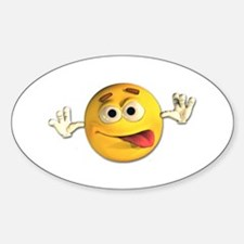 Goofy Emoticon Smiley Oval Decal