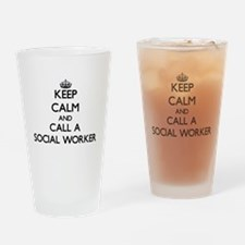 Keep calm and call a Social Worker Drinking Glass