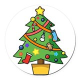 Christmas tree Round Car Magnets