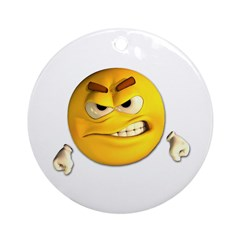 Angry Emoticon Smiley Ornament (Round)