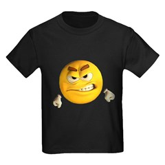 Angry Emoticon Smiley (Front) Kids Dark T-Shirt