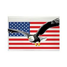 Bald Eagle and US Flag Rectangle Magnet (100 pack)