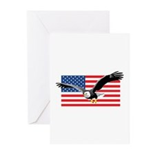 Bald Eagle and US Flag Greeting Cards (Package of