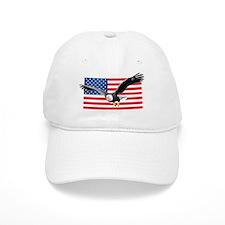Bald Eagle and US Flag Baseball Cap