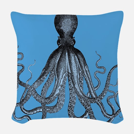 Vintage Octopus in Duo blue tones Woven Throw Pill