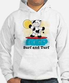 Cow Surfing Red Surfboard White Hoodie